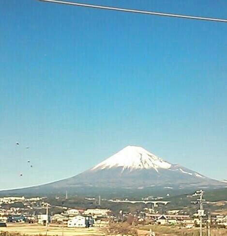 移動中の富士山